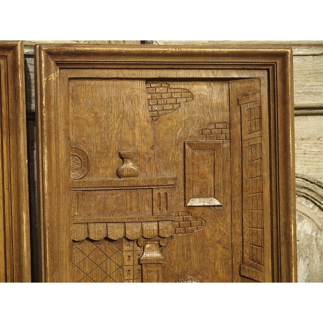 Brown Set of Three Bas Relief Carved Belgian Panels, Circa 1930 For Sale - Image 8 of 13