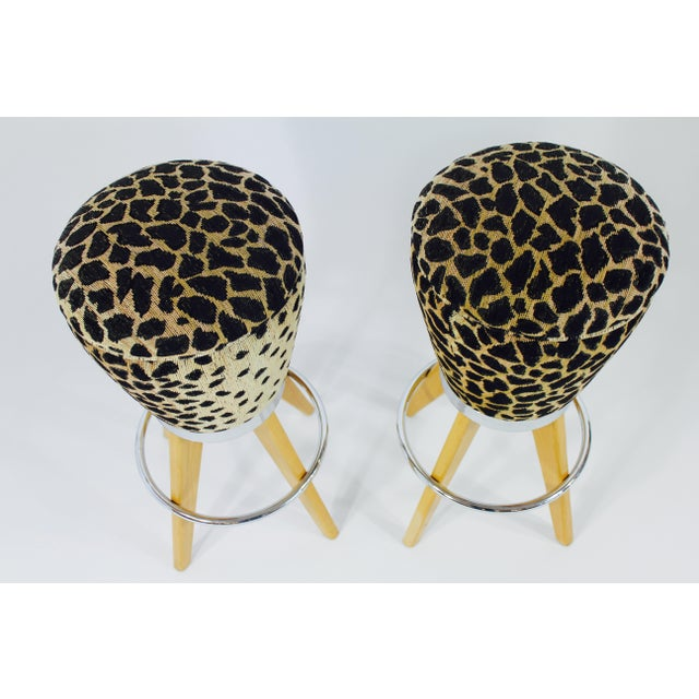 Leopard Skin Fabric & Maple Bar Stools- A Pair - Image 3 of 4