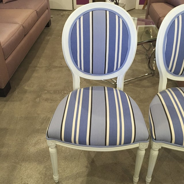Blue & White Striped Cameo Chairs - Set of 8 - Image 9 of 10