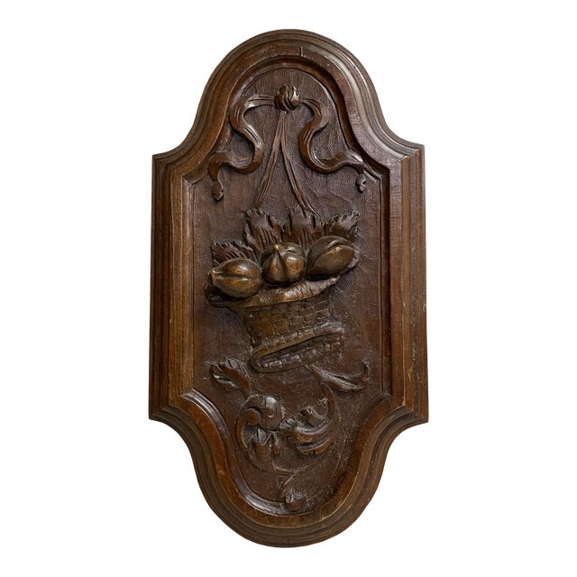 English Antique Carved Plaque With Fruit Basket For Sale