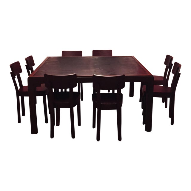 Gervasoni Otto Walnut, Bamboo Table & 8 Chairs For Sale