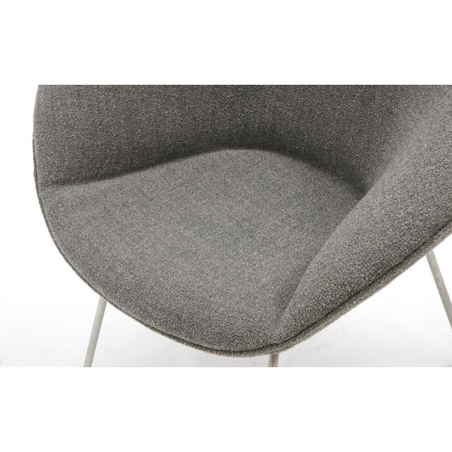 Metal Arne Jacobsen for Fritz Hansen, Restored, Maharam Fabric Pot Chairs - a Pair For Sale - Image 7 of 8
