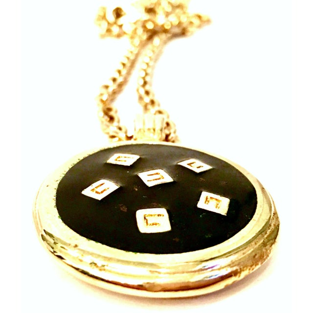 """Metal 20th Century Gold & Enamel """"G"""" Logo Reversible Givenchy Pendant Necklace For Sale - Image 7 of 9"""