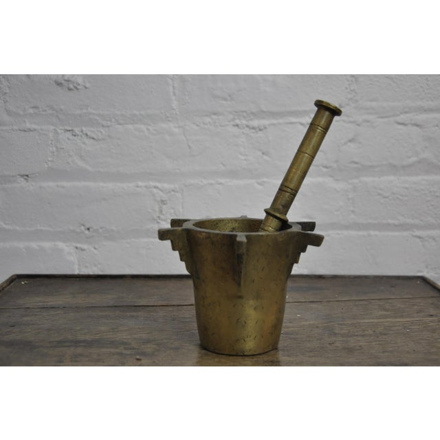 Islamic Antique Ottoman Turkish Heavy Bronze Mortar and Pestle For Sale - Image 3 of 8