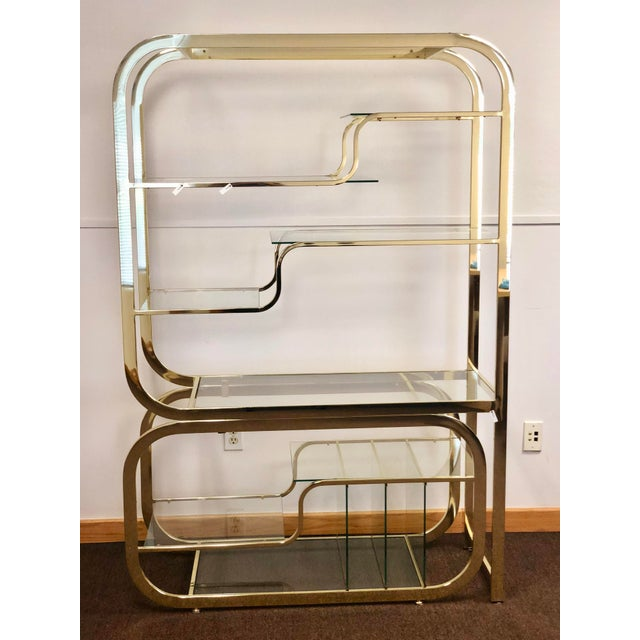 1970s Milo Baughman for Design Institute of America Brass Etagere For Sale In Detroit - Image 6 of 9