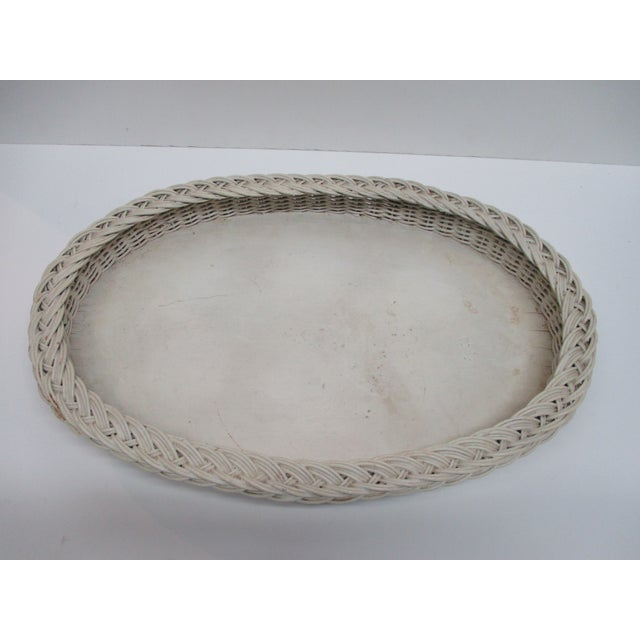 Late 20th Century Vintage Country Breakfast Oval Serving Tray in White Painted Wood and Wicker Borders For Sale - Image 5 of 5