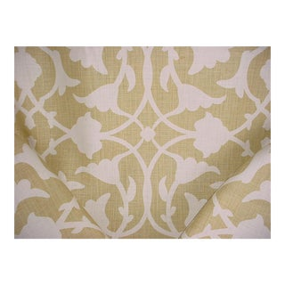 Kravet Couture Barbara Barry Poetical Spungold Print Upholstery Fabric- 8 1/4 Yards For Sale