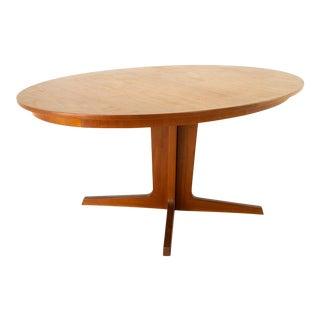 Bernhard Pedersen Danish Mid Century Teak Oval Pedestal Base Dining Table For Sale