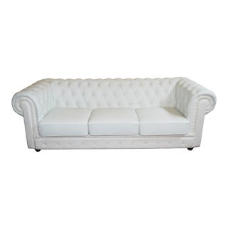 Vintage 1990s Chesterfield Style Sofa Off White Leather Tufted Body & Leatherette Cushions For Sale