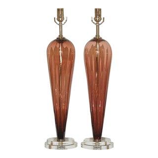Joe Cariati Handblown Glass Teardrop Lamps in Wine - Pair For Sale