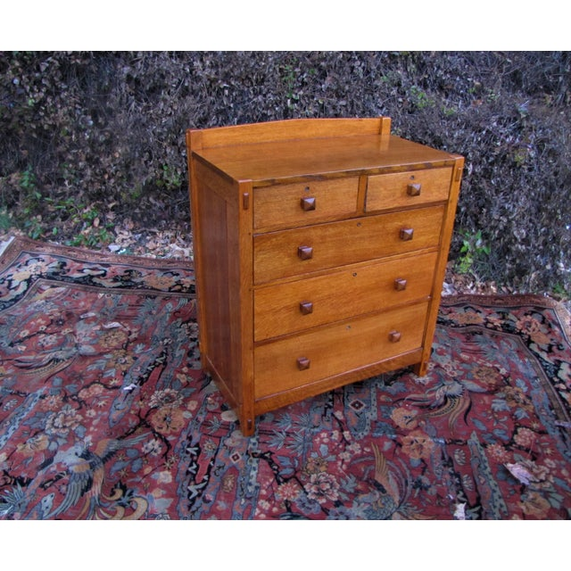 Brown 1900s Arts and Crafts Gustav Stickley Chest of Drawers For Sale - Image 8 of 13