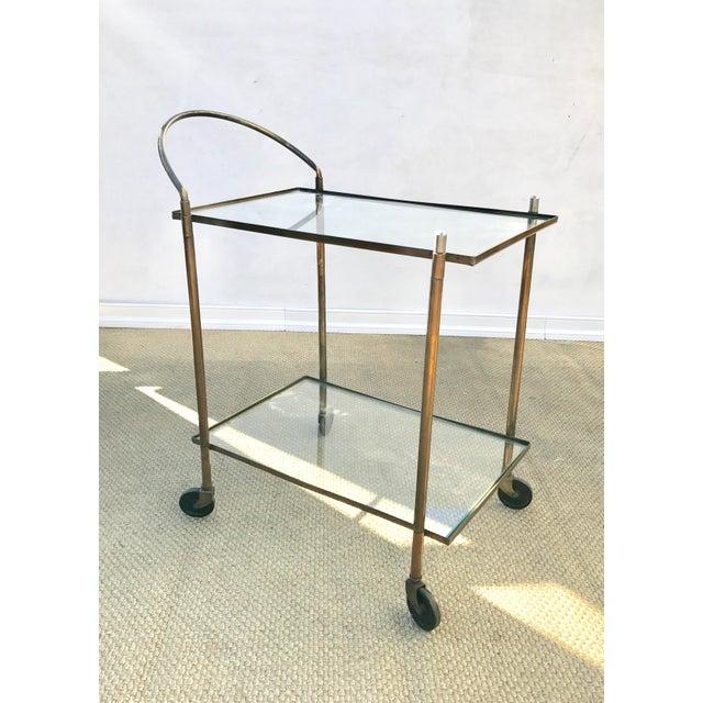 Hollywood Regency Vintage Brass Bar Cart For Sale - Image 3 of 10