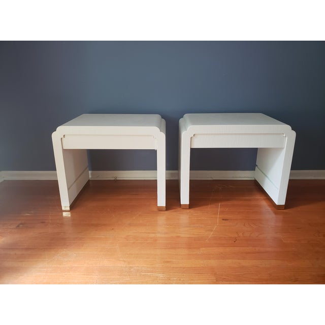 Ron Seff Linen Wrapped Nightstands by Ron Seff-a Pair For Sale - Image 4 of 12