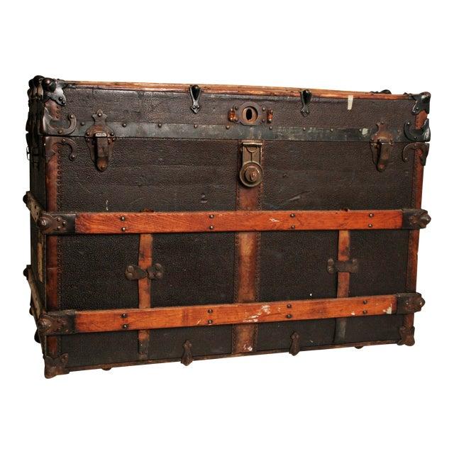 Antique Wood Steamer Trunk - Image 1 of 11