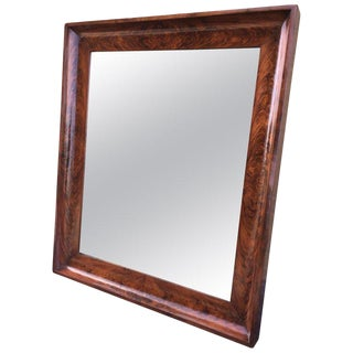 19th Antique Beveled Frame Burl Mahogany Mirror For Sale
