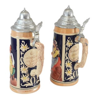 German Ceramic & Pewter Lidded Beer Steins - a Pair For Sale