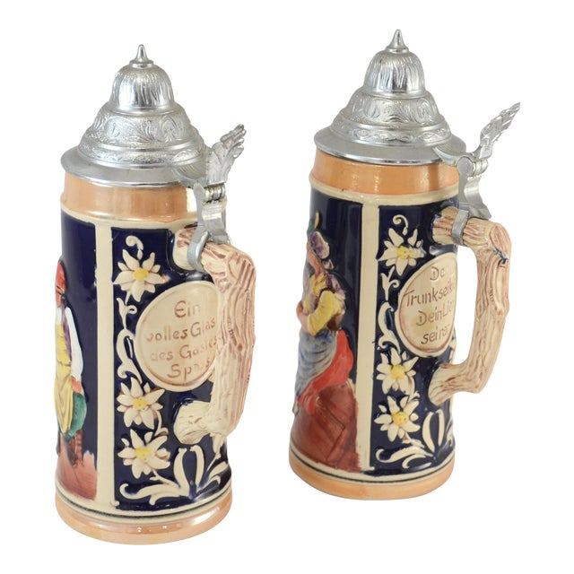 Oktoberfest Ceramic & Pewter Lidded Beer Steins - a Pair For Sale