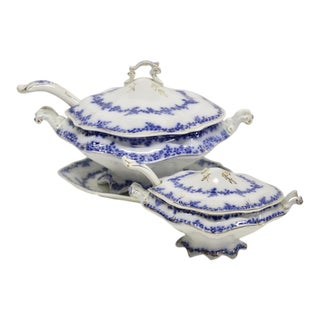 English Flow Blue Tureen Set, 7 Pcs For Sale