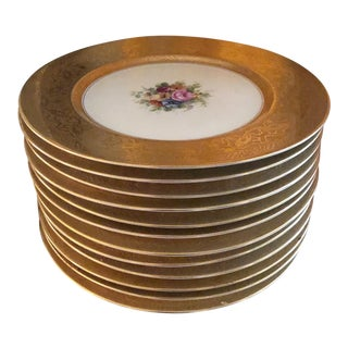 Heinrich and Co. Selb Bavarian Dinner or Service Plates Gold Encrusted With Center Floral Design - Set of 12 For Sale
