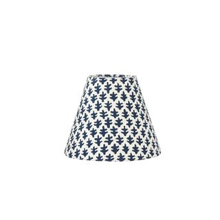 Custom Indigo Blue Sconce Lamp Shade in Sister Parish Burmese Fabric For Sale
