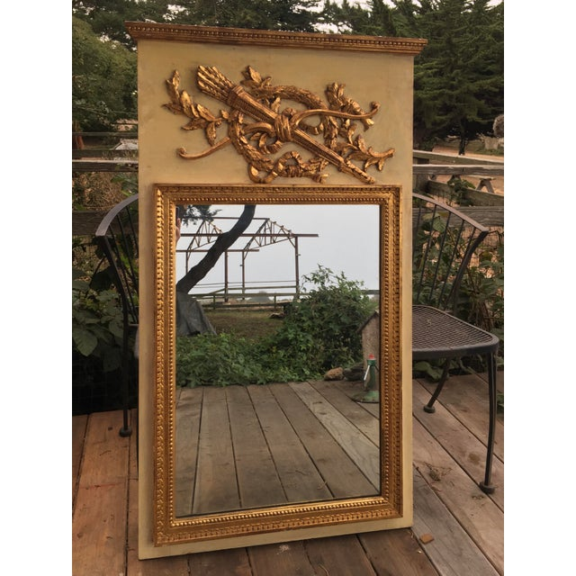 19th Century Hand Painted & Gold Leaf French Trumeau Pier Mirror For Sale - Image 9 of 9