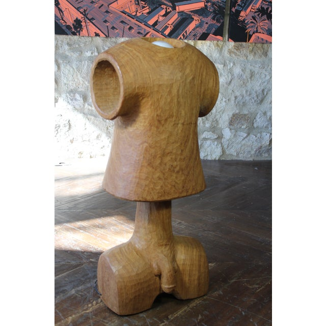 Contemporary Vintage Wooden Figural Torso Table Lamp For Sale - Image 3 of 10