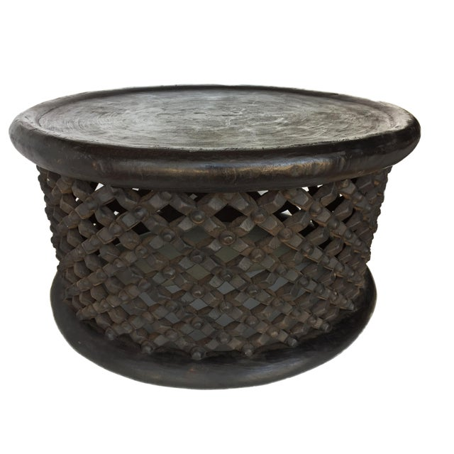 """Wood African Bamileke Spider Table/ Stool 30.5"""" D For Sale - Image 7 of 7"""
