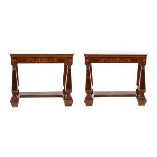 19th Century Mahogany French Marquetry Satinwood Marble Top Consoles - a Pair For Sale