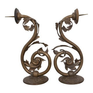 Pair of Early 19th Century Dutch Brass Wall Sconces For Sale