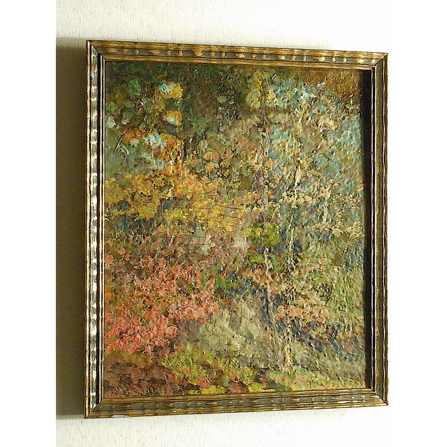 This impressionist oil on paperboard depicts a colorful woodland scene . Appears to be unsigned. Framed and ready to hang....