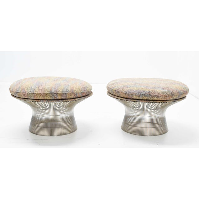 Beautiful pair of nickel-plated stools by Warren plater, 1970s. Upholstery is unchanged but can be easily replaced.