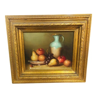 1990s Oil on Canvas Still Life With Fruit Signed Painting For Sale