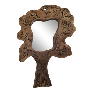 Vintage Pottery Tree Shaped Mirror For Sale