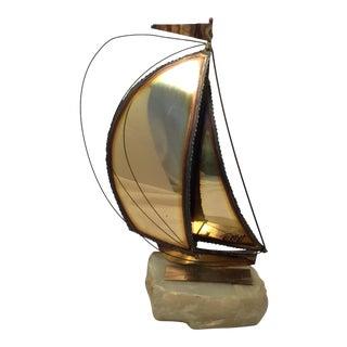 Signed Mid-Century Demott Brass Boat on Quartz Base