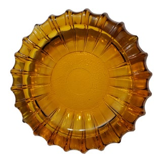 Mid-Century Modern Amber Glass Ashtray For Sale