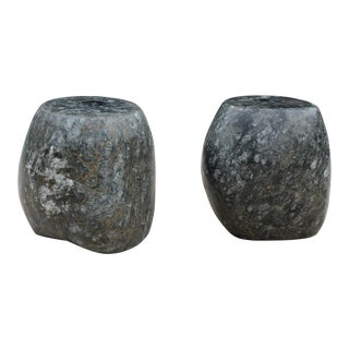 Organic Modern Black Granite Candle Holders - a Pair