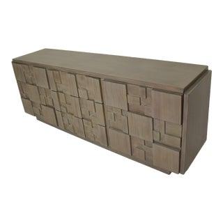 Mid Century Modern Brutalist Lane Credenza Dresser in Custom Grey Finish For Sale
