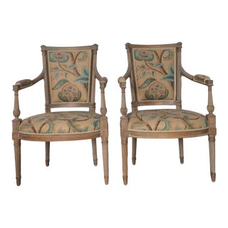 Louis XVI Style Open Arm Chairs - A Pair For Sale