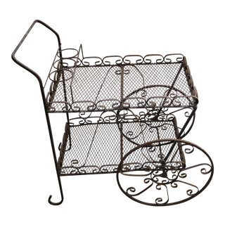 Vintage Wrought Iron Bar Cart & Bottle Storage