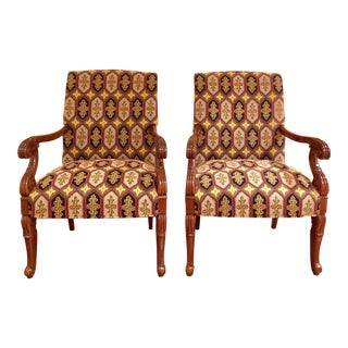 Regency Gainsboro High Back Chairs With Stark Needlepoint Fabric - a Pair