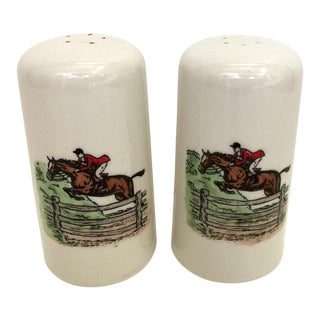 1970s Cottage Ceramic Equestrian Salt & Pepper Shakers - a Pair