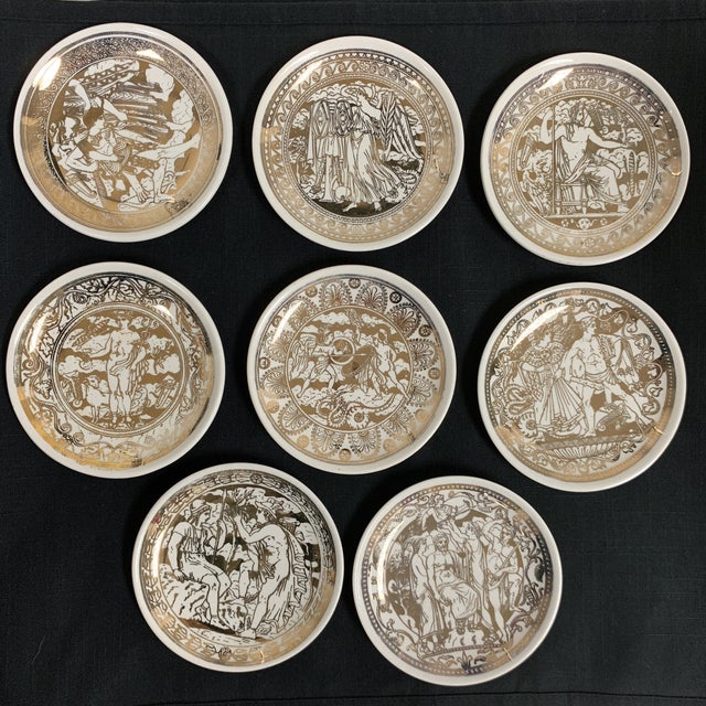 20th Century Italian Fornasetti Coasters Small Plates - Set of 8 For Sale - Image 9 of 9