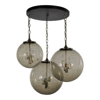 Lightcraft of California Chandelier With 3 Cascading Smoke Glass Orb Globes Various Size For Sale