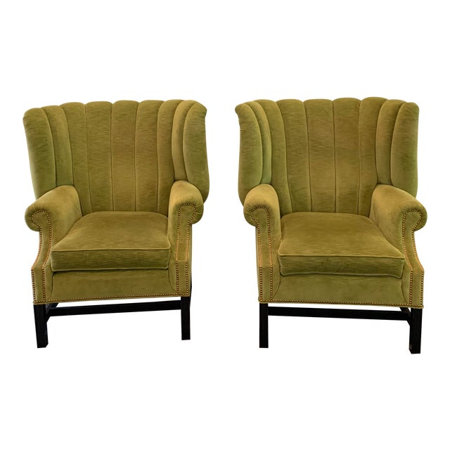 Century Furniture Artesia Wingback Chairs- A Pair For Sale