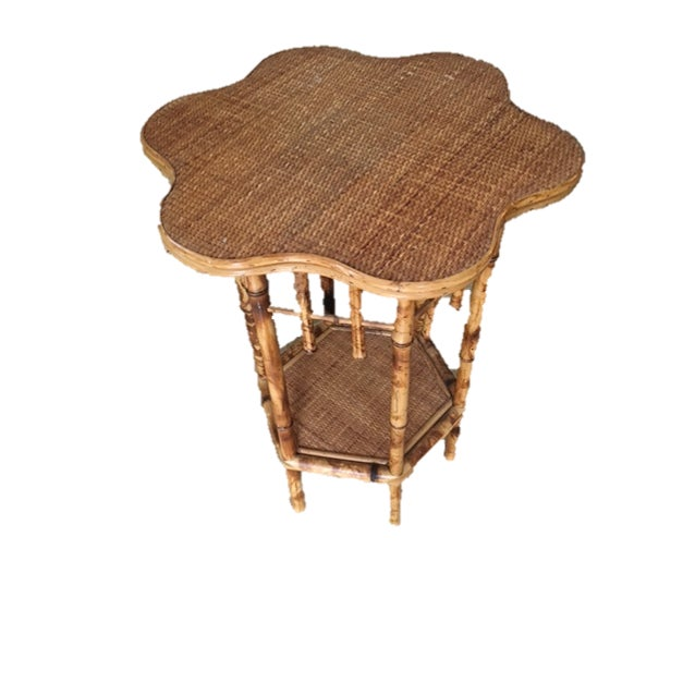 Scalloped Bamboo Side Table - Image 1 of 4