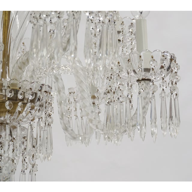 Brass Antique Baccarat Undulating 10-Armed Crystal Waterfalls Chandelier For Sale - Image 7 of 8