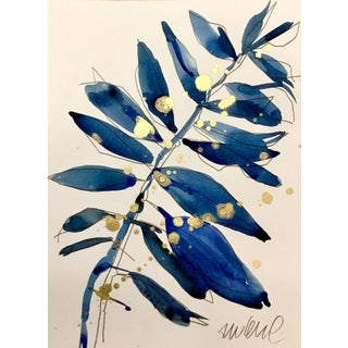 Blue Grass 2, Original Watercolor Painting With Gold. For Sale