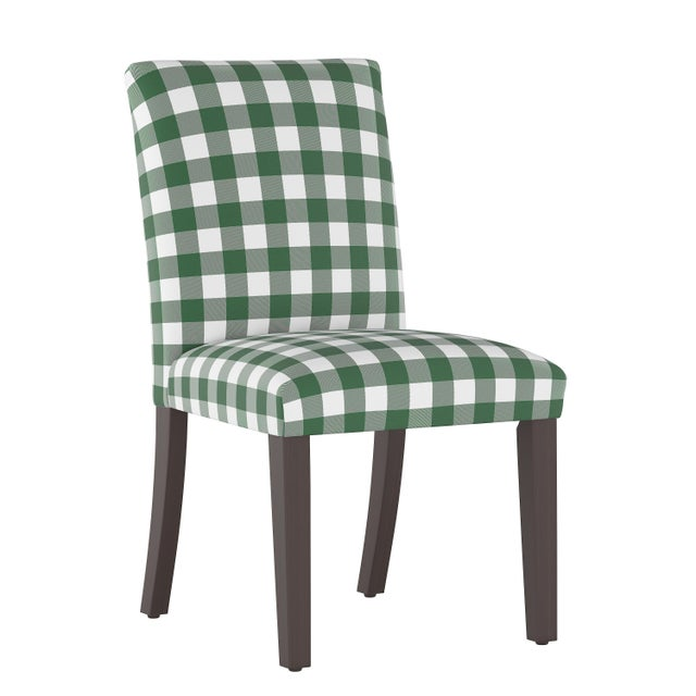 Dining Chair in Classic Gingham Evergreen Oga For Sale In Chicago - Image 6 of 7
