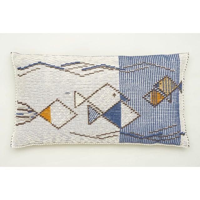 "Early 21st Century Schumacher Artiganale Italian Hand Woven Mediterraneo Blue 49"" Floor Pillow For Sale - Image 5 of 5"