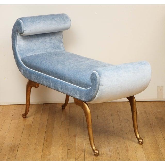 Italian Giltwood Bench in Blue Velvet For Sale - Image 9 of 13